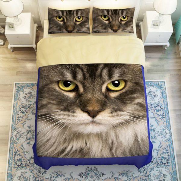 Cute Grey Cat Face Printed Bedding Set