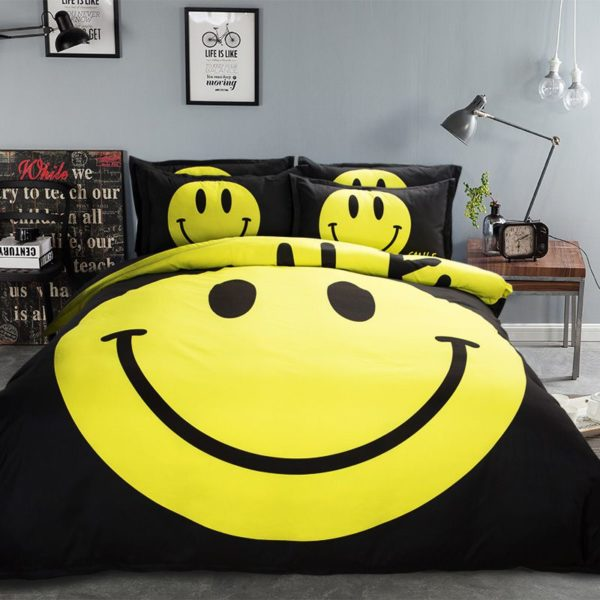 Cute Smiley Printed Bedding Set 3 600x600 - Cute Smiley Printed Bedding Set