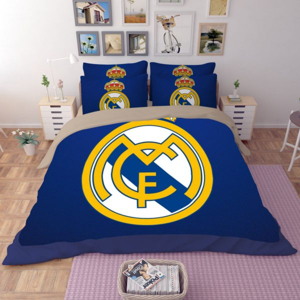 Dream League Soccer Real Madrid Logo Printed Bedding Set