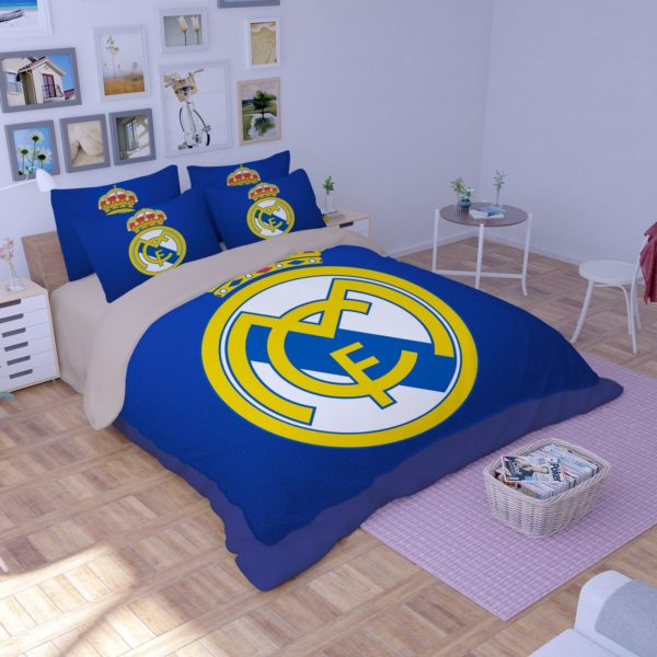 Dream league soccer real madrid logo printed bedding set for Decoration chambre real madrid