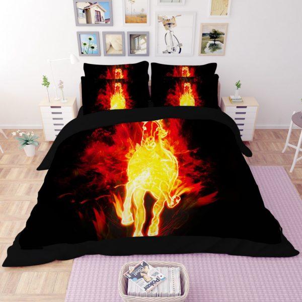 Fire Horse Printed Black Bedding Set 1 600x600 - Fire Horse Printed Black Bedding Set