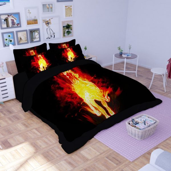 Fire Horse Printed Black Bedding Set 2 600x600 - Fire Horse Printed Black Bedding Set
