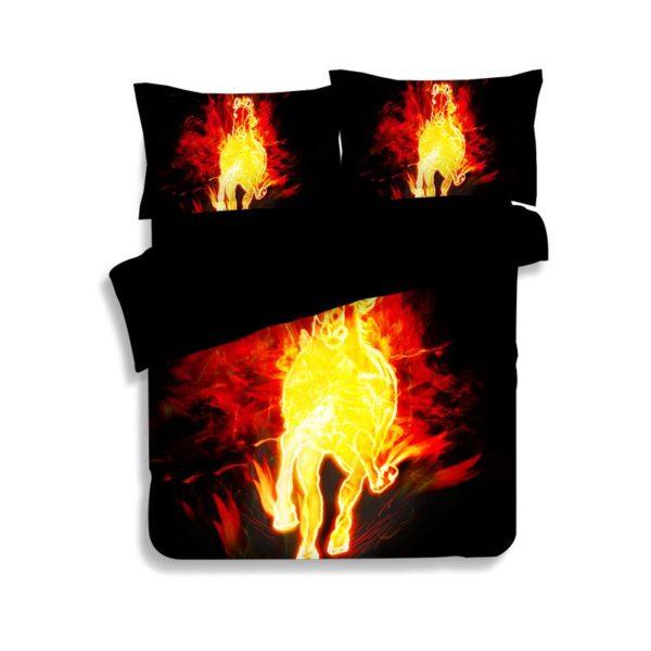 Fire Horse Printed Black Bedding Set 4 600x600 - Fire Horse Printed Black Bedding Set