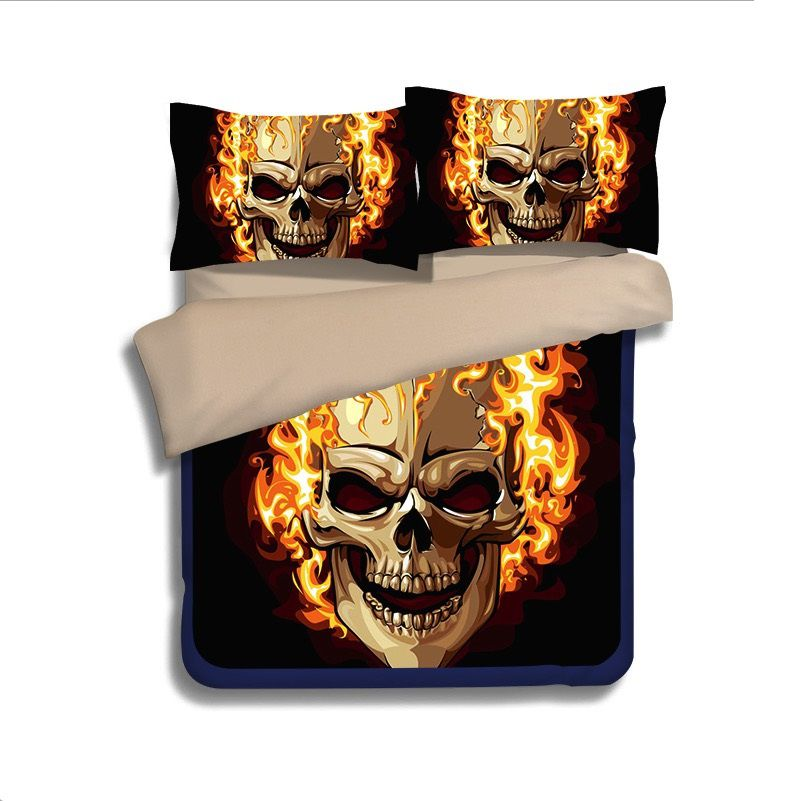 Ghost Rider Fire Skull Printed Bedding Set Ebeddingsets
