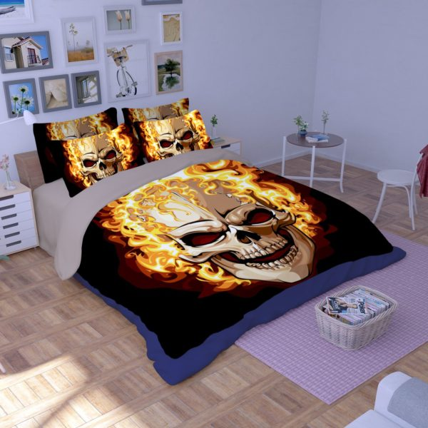 Ghost Rider Fire Skull Printed Bedding Set