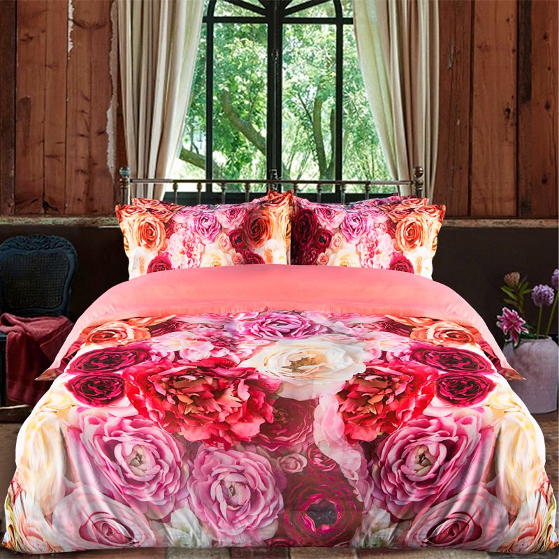 Glamorous Pink Rose Bedding Set Ebeddingsets