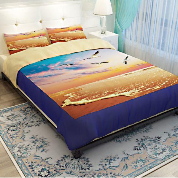 Golden Sea View Printed Bedding Set 2 600x600 - Golden Sea View Printed Bedding Set