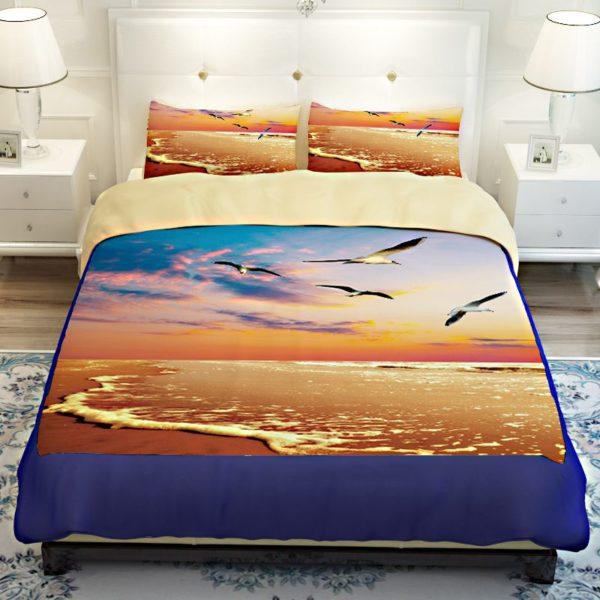 Golden Sea View Printed Bedding Set 3 600x600 - Golden Sea View Printed Bedding Set