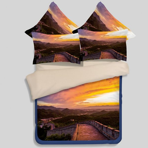Great Wall Sunset Picture Printed Bedding Set 1