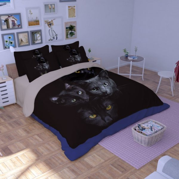 HD Black Cat Faces Printed Bedding Set