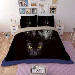 HD Black Cat Faces Printed Bedding Set 3 300x300 - HD Black Cat Faces Printed Bedding Set