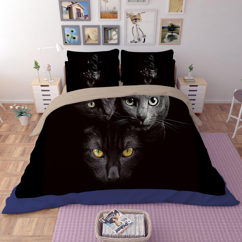Hd Black Cat Faces Printed Bedding Set Ebeddingsets
