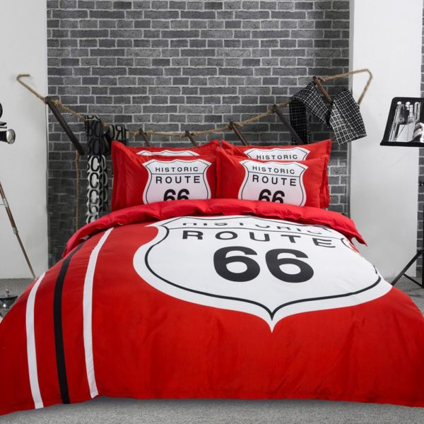 Historic Route 66 Red White Bedding Set 1 600x600 - Historic Route 66 Red & White Bedding Set