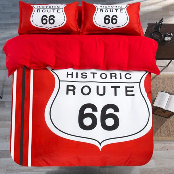 Historic Route 66 Red White Bedding Set 3 600x600 - Historic Route 66 Red & White Bedding Set