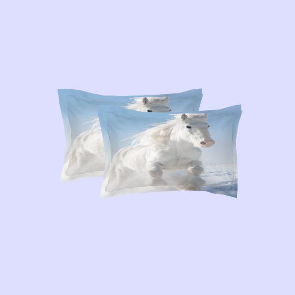 Long haired White Horse Running In Snow Bedding Set 2 600x600 - Long-haired White Horse Running In Snow Bedding Set