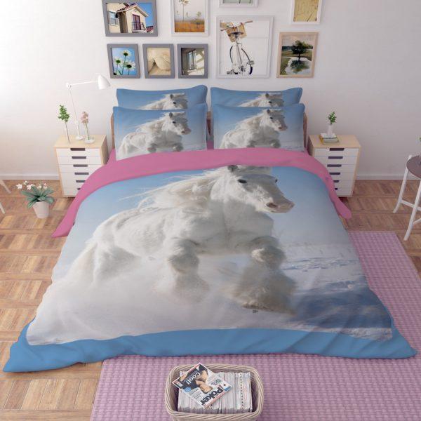 Long haired White Horse Running In Snow Bedding Set 3 600x600 - Long-haired White Horse Running In Snow Bedding Set