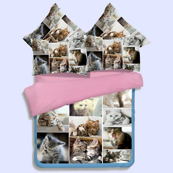 Lovable Cute Cats Printed Bedding Set 1