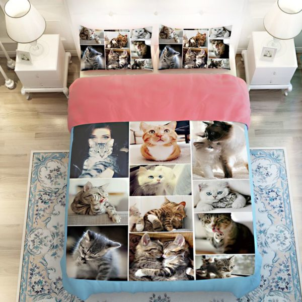 Lovable Cute Cats Printed Bedding Set 2 600x600 - Lovable Cute Cats Printed Bedding Set