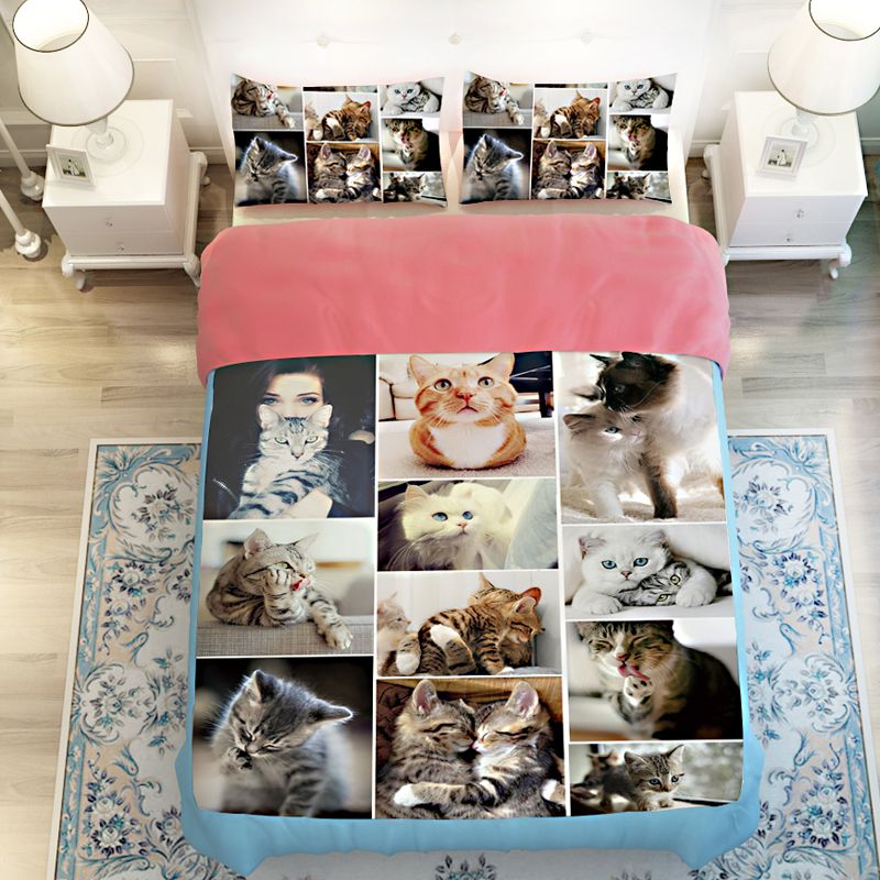 Lovable Cute Cats Printed Bedding Set Ebeddingsets