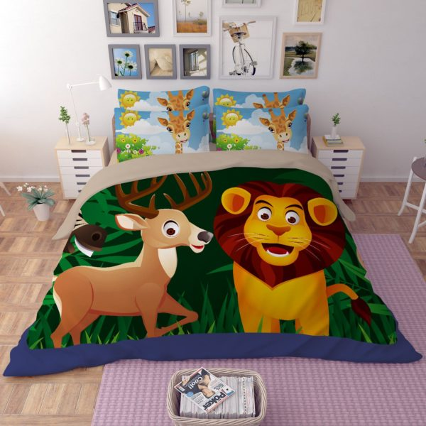 Lovely Lion Wildlife Printed Bedding Set 1 600x600 - Lovely Lion Wildlife Printed Bedding Set