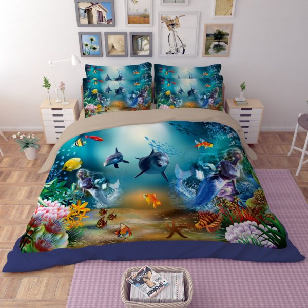 Ocean Underwater World Dolphin Coral Bedding Set