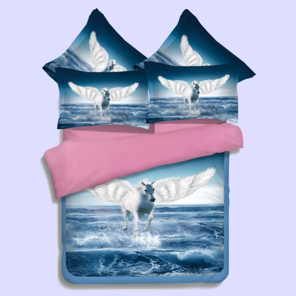 Pegasus the flying horse Printed Blue Pink Bedding Set 1 600x600 - Pegasus, the flying horse Printed Blue & Pink Bedding Set