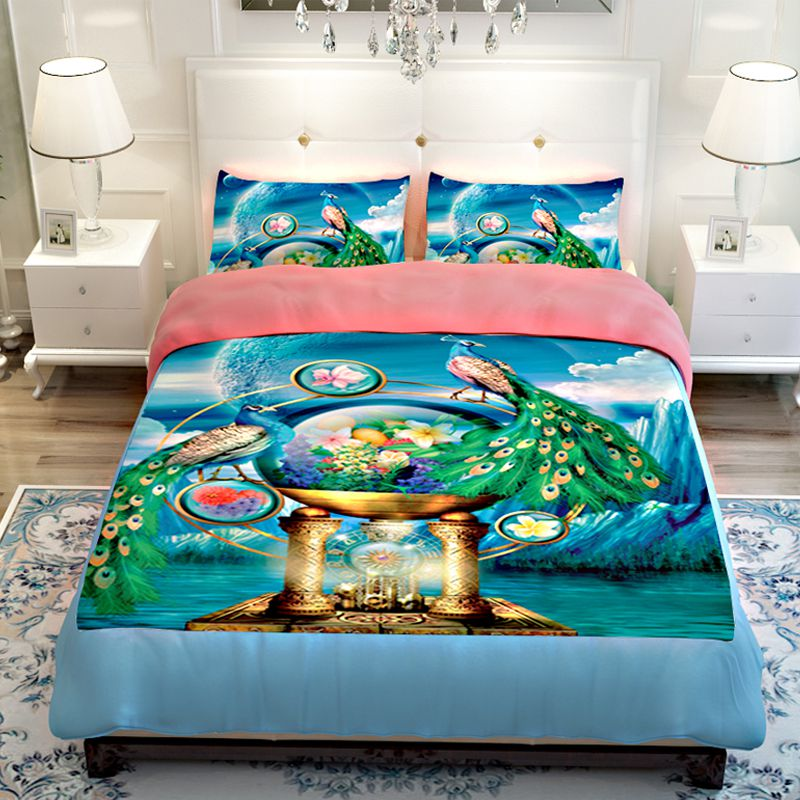 popular peacock blue bedding set