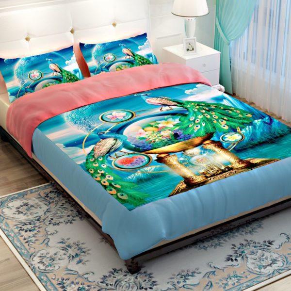 Popular Peacock Blue Bedding Set 3 600x600 - Popular Peacock Blue Bedding Set