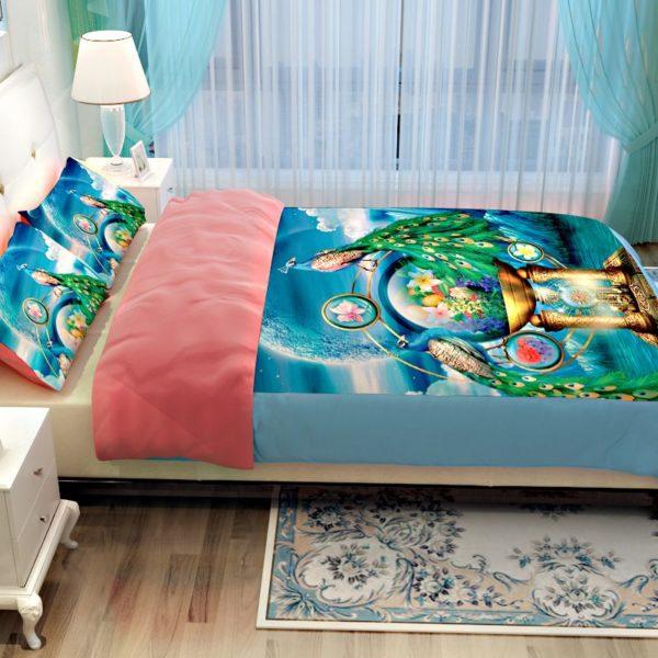 Popular Peacock Blue Bedding Set 4 600x600 - Popular Peacock Blue Bedding Set