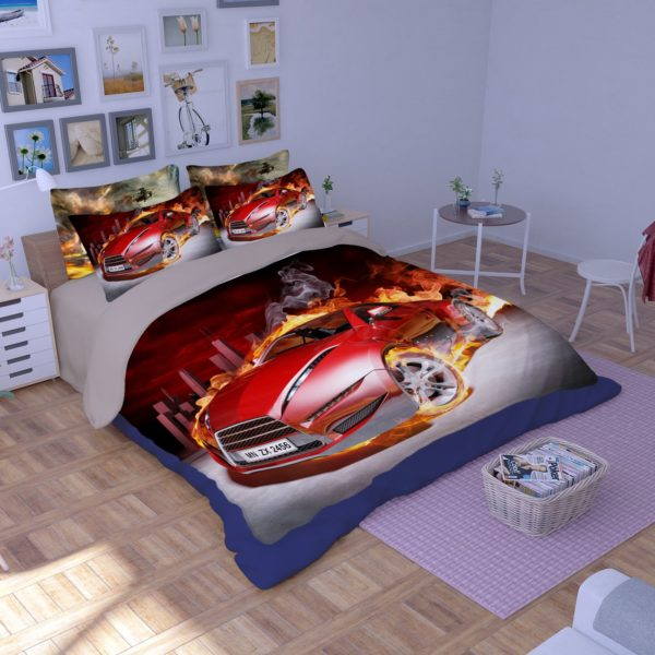 Red Flaming Car Printed Bedding Set 1 600x600 - Red Flaming Car Printed Bedding Set