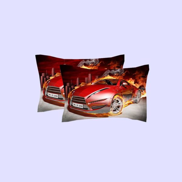 Red Flaming Car Printed Bedding Set 2 600x600 - Red Flaming Car Printed Bedding Set