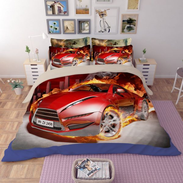 Red Flaming Car Printed Bedding Set 3 600x600 - Red Flaming Car Printed Bedding Set