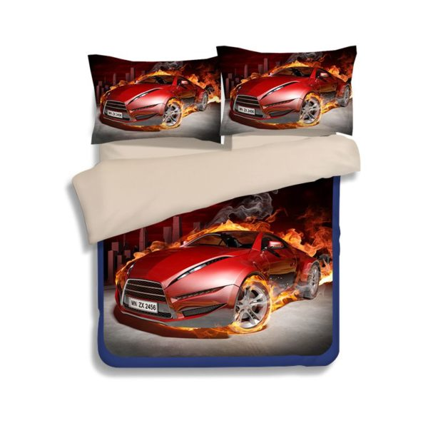 Red Flaming Car Printed Bedding Set 4 600x600 - Red Flaming Car Printed Bedding Set