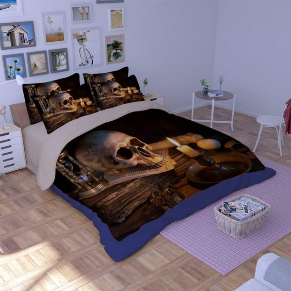 Retro Skull design 3d printed Bedding Set 2 600x600 - Retro Skull design 3d printed Bedding Set