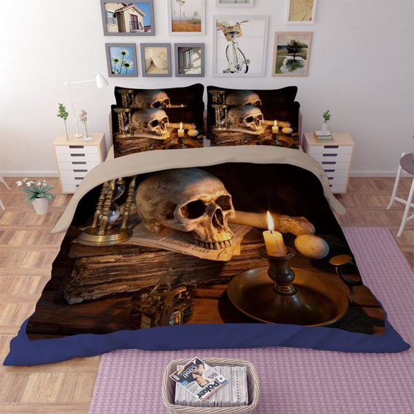 Retro Skull design 3d printed Bedding Set 4 600x600 - Retro Skull design 3d printed Bedding Set