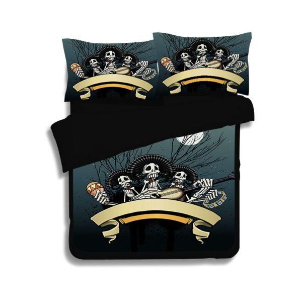 Rocking Skeleton printed bedding set 2 600x600 - Rocking Skeleton printed bedding set