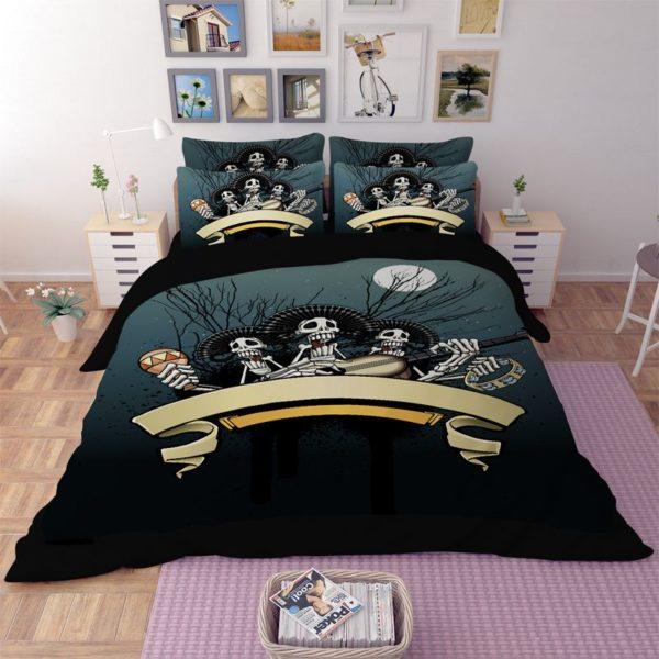 Rocking Skeleton printed bedding set 4 600x600 - Rocking Skeleton printed bedding set