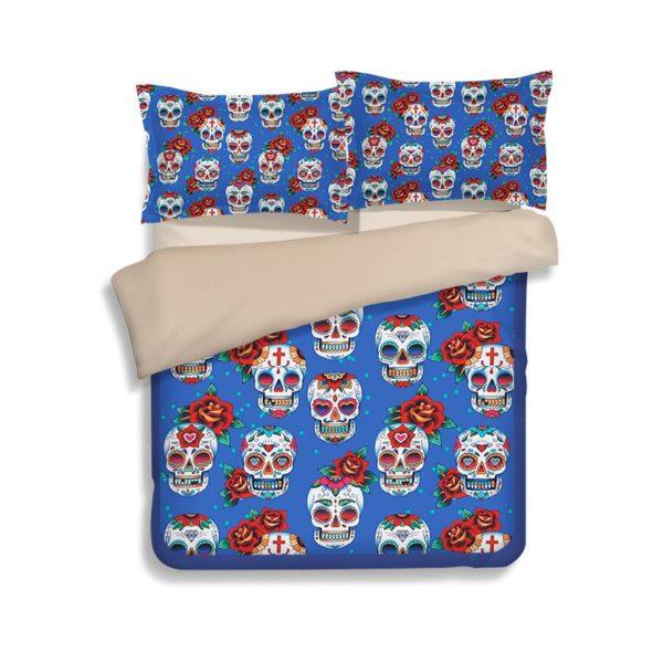Skull Red Rose printed Bedding set 1 600x600 - Skull & Red Rose printed Bedding set