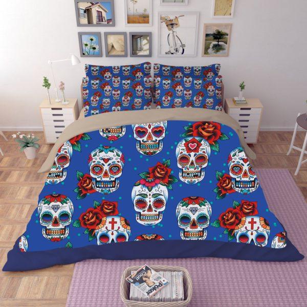 Skull Red Rose printed Bedding set 2 600x600 - Skull & Red Rose printed Bedding set