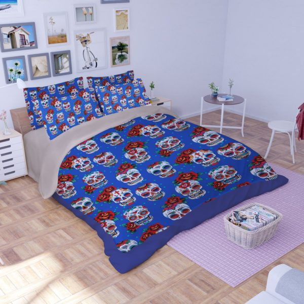 Skull Red Rose printed Bedding set 3 600x600 - Skull & Red Rose printed Bedding set