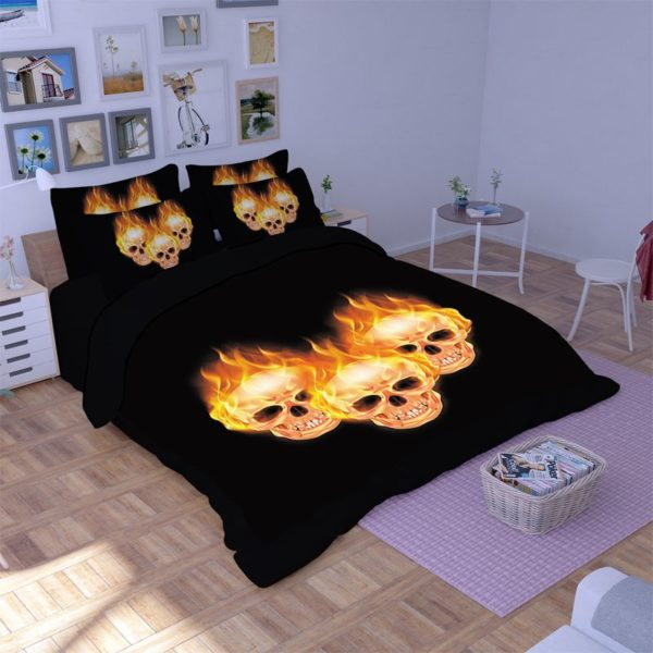 Stunning Fire Skull 3D printed bedding set 1 600x600 - Stunning Fire Skull 3D printed bedding set