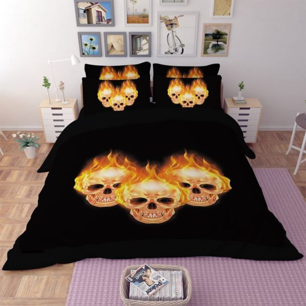 Stunning Fire Skull 3D printed bedding set 3 600x600 - Stunning Fire Skull 3D printed bedding set