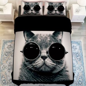 Stylish Cat Printed Black White Bedding Set 1 300x300 - Stylish Cat Printed Black & White Bedding Set