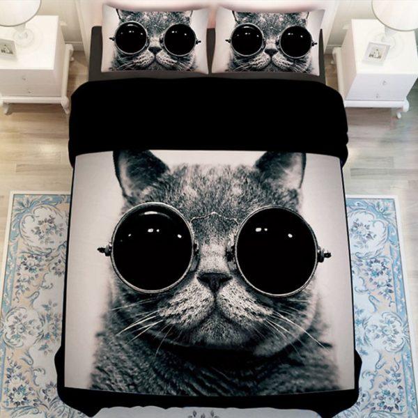Stylish Cat Printed Black White Bedding Set 1 600x600 - Stylish Cat Printed Black & White Bedding Set