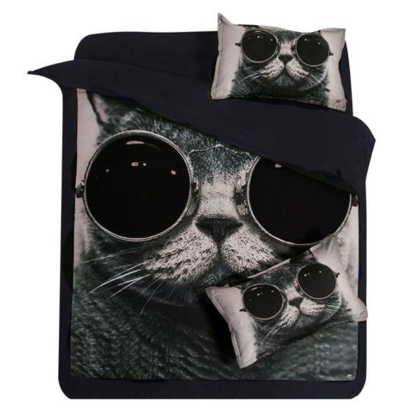 Stylish Cat Printed Black White Bedding Set 2 600x600 - Stylish Cat Printed Black & White Bedding Set