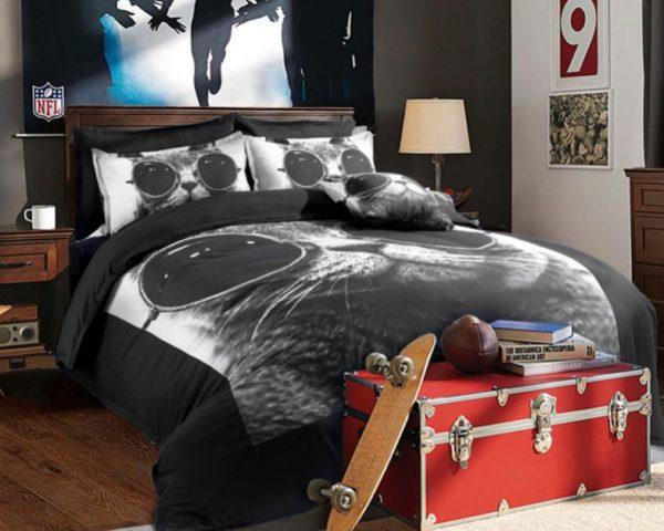 Stylish Cat Printed Black White Bedding Set 3 600x480 - Stylish Cat Printed Black & White Bedding Set