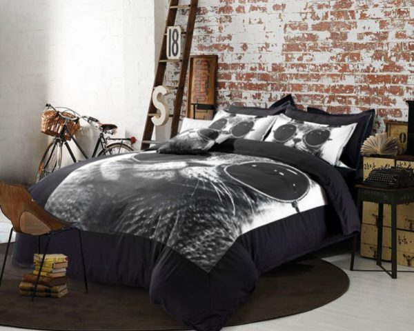 Stylish Cat Printed Black White Bedding Set 4 600x480 - Stylish Cat Printed Black & White Bedding Set
