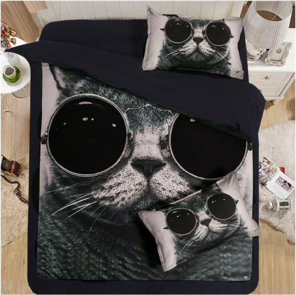 Stylish Cat Printed Black White Bedding Set 5 600x599 - Stylish Cat Printed Black & White Bedding Set