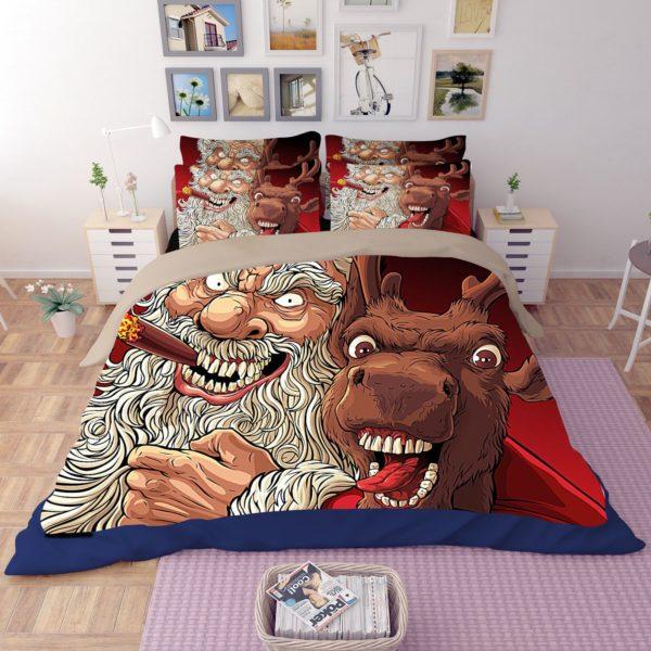 Terrific Horror Santa Claus Reindeer Bedding Set 1