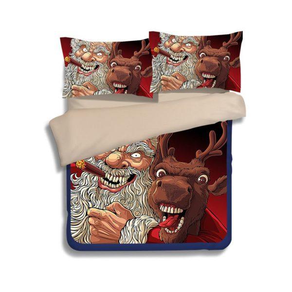 Terrific Horror Santa Claus Reindeer Bedding Set 2